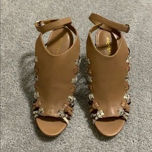 Coach Jody cage heels - Tan with python trim